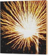 Firework Yellow Burst Wood Print