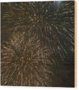 Fireworks 4 With Moon Wood Print