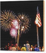 Fireworks And The Flag Wood Print