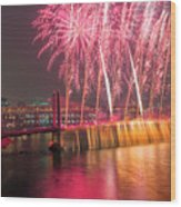 Fireworks And Waterfall Wood Print