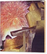 Fireworks At Guggenheim Wood Print