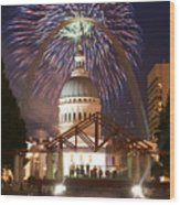 Fireworks At The Arch 1 Wood Print