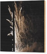 Fireworks Behind The Street Light Wood Print