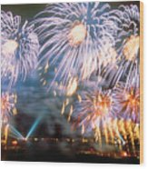 Fireworks Blue Wood Print
