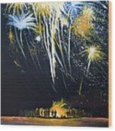 Fireworks Bonfire On The West Bar Wood Print