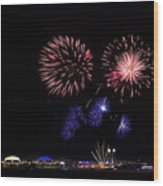 Fireworks Bursts Over Chicago Wood Print
