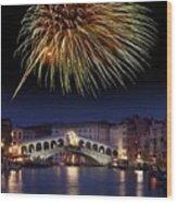 Fireworks Display, Venice Wood Print