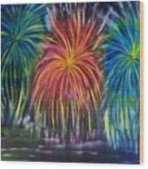 Fireworks Explode Wood Print