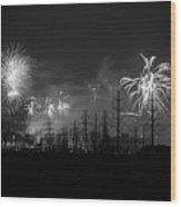 Fireworks In Black And White Wood Print