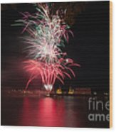 Fireworks In Greenwich  Wood Print