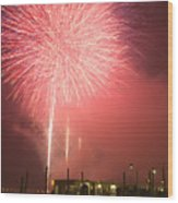Fireworks In Venice Wood Print