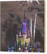 Fireworks Over Disney Castle Wood Print