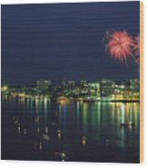 Fireworks Over Halifax Harbor Celebrate Wood Print