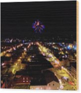 Fireworks Over Hudson Wood Print