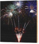 Fireworks Over Lake #14 Wood Print