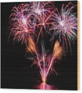 Fireworks Over Lake #15 Wood Print