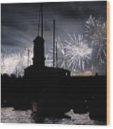 Fireworks Over Marseille's Vieux-port On July 14th Bastille Day Wood Print