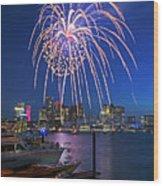 Fireworks Over The Boston Skyline Boston Harbor Illumination Streaming Down Wood Print