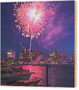 Fireworks Over The Boston Skyline Boston Harbor Illumination Wood Print