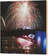 Fireworks Over The River Wood Print by Keith Dillon