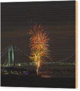 Fireworks Over The Verrazano Narrows Bridge Wood Print