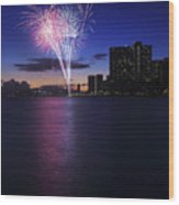 Fireworks Over Waikiki Wood Print