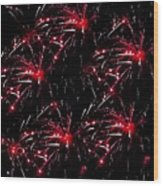 Fireworks - Red Bursts Wood Print