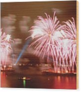 Fireworks Red Wood Print