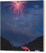 Fireworks Show In The Mountains Wood Print