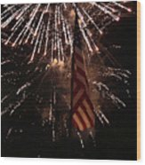 Fireworks With Flag Wood Print by Alan Look