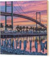 Firey Sunrise Vertical Waterfront Wood Print