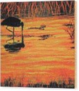 Firey Water Wood Print