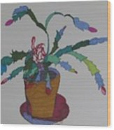 First Bloom Christmas Cactus Wood Print