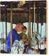 First Carousel Ride Wood Print