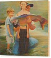First Catch Wood Print