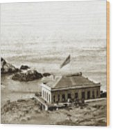 First Cliff House  View Of Ropes From The Cliff House To Seal Rock Circa 1865 Wood Print
