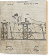 First Exercise Machine Patent Wood Print