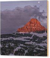First Light At Logan Pass - Glacier National Park Wood Print