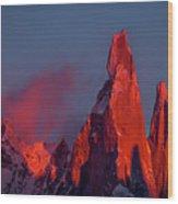 First Light On Cerro Torre - Patagonia Wood Print