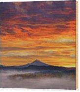 First Light On Mount Hood During Sunrise Wood Print