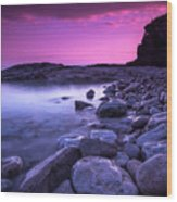 First Light On The Rocks At Indian Head Cove Wood Print