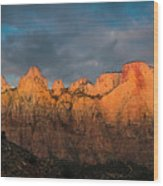 First Light On The Towers - Zion N.p.  Wood Print
