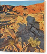 First Light On Valley Of Fire State Park Wood Print