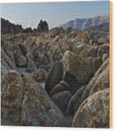 First Light Over Alabama Hills California Wood Print