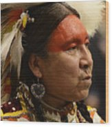 Pow Wow First Nations Man Portrait 1 Wood Print