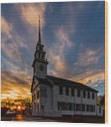 First Parish Church In Milton Massachusetts Sunset Wood Print