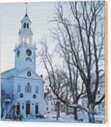 First Parish Church Manchester Ma North Winter Snow Wood Print