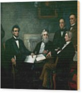 First Reading Of The Emancipation Proclamation Of President Lincoln Wood Print