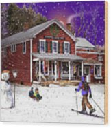 First Snow At The South Woodstock Country Store Wood Print