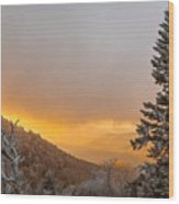 First Snow On The Blue Ridge Parkway. Wood Print